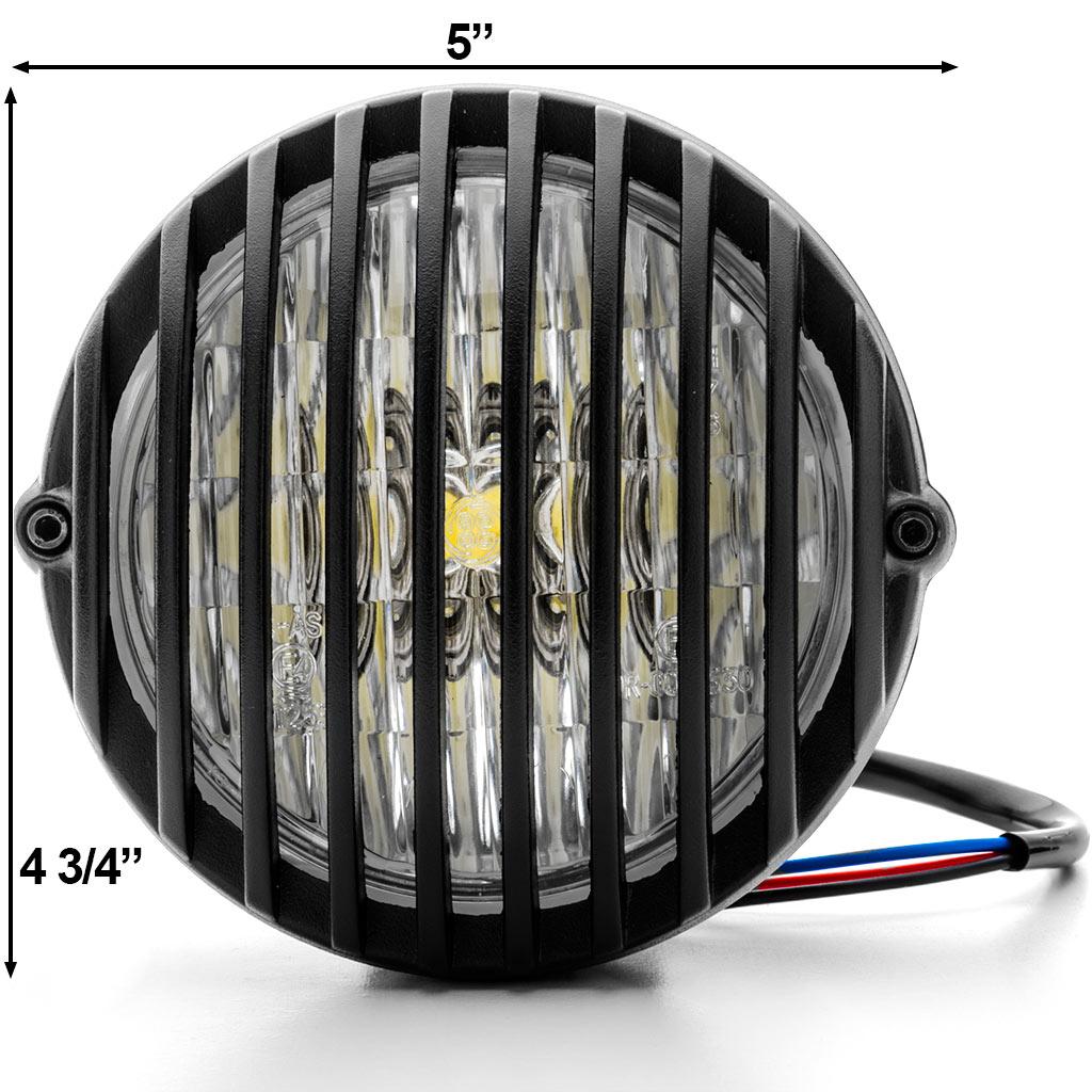 "Krator 5"" Black Vintage Antique Style Grill Prison Chopper Motorcycle Bobber Headlight For Yamaha Road Star Silverado XV Midnight - image 5 de 6"