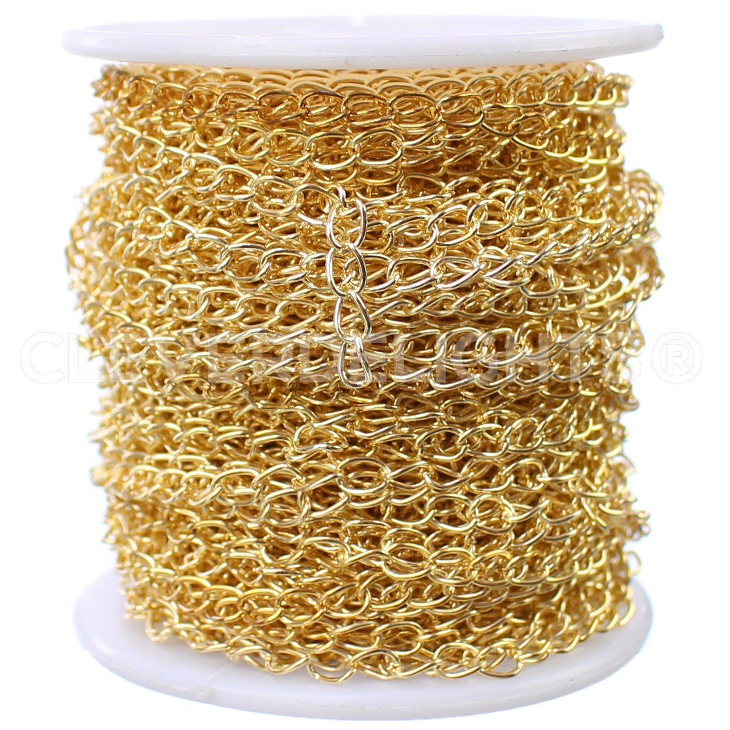 CleverDelights Curb Chain Spool - 3.5x5.5mm Link - Gold Color - 100 Feet