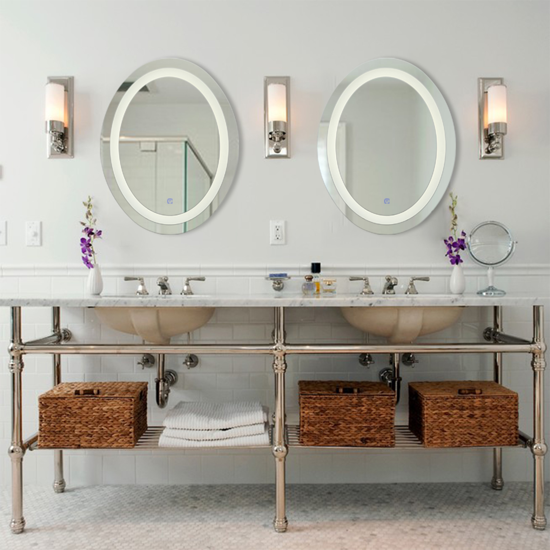 Charmant L22u0027u0027x H28u0027u0027 Dimmable Oval LED Lighted Bathroom Mirror, Modern Wall Mirror  With Dimmer And Lights, Wall Mounted Fogless Makeup Vanity Mirror Over ...