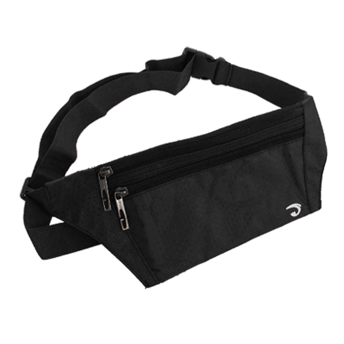 Unique Bargains Man 3 Zippered Pockets Nylon Waist Bag Pouch Black
