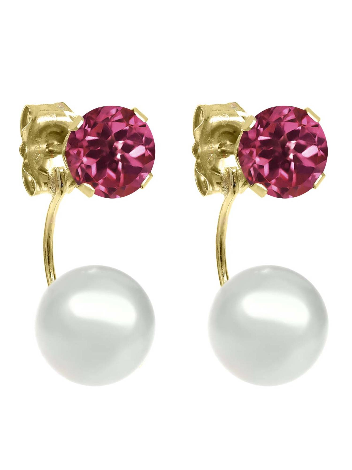 1.00 Ct Round 5mm Pink Tourmaline AA 14K Yellow Gold Stud Earrings by