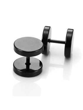 52514d1c9 Product Image Round Barbell Dumbbell Stainless Steel Mens Designer Jewelry  Bolt Stud Earrings (Black,12mm)