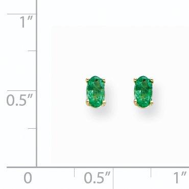 14K Yellow Gold Emerald Post Earrings - image 1 de 2