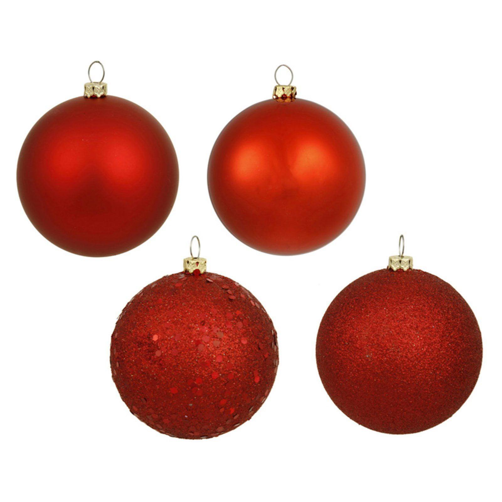 "Vickerman 3"" Red 4-Finish Ornament Assortment, Set of 16"