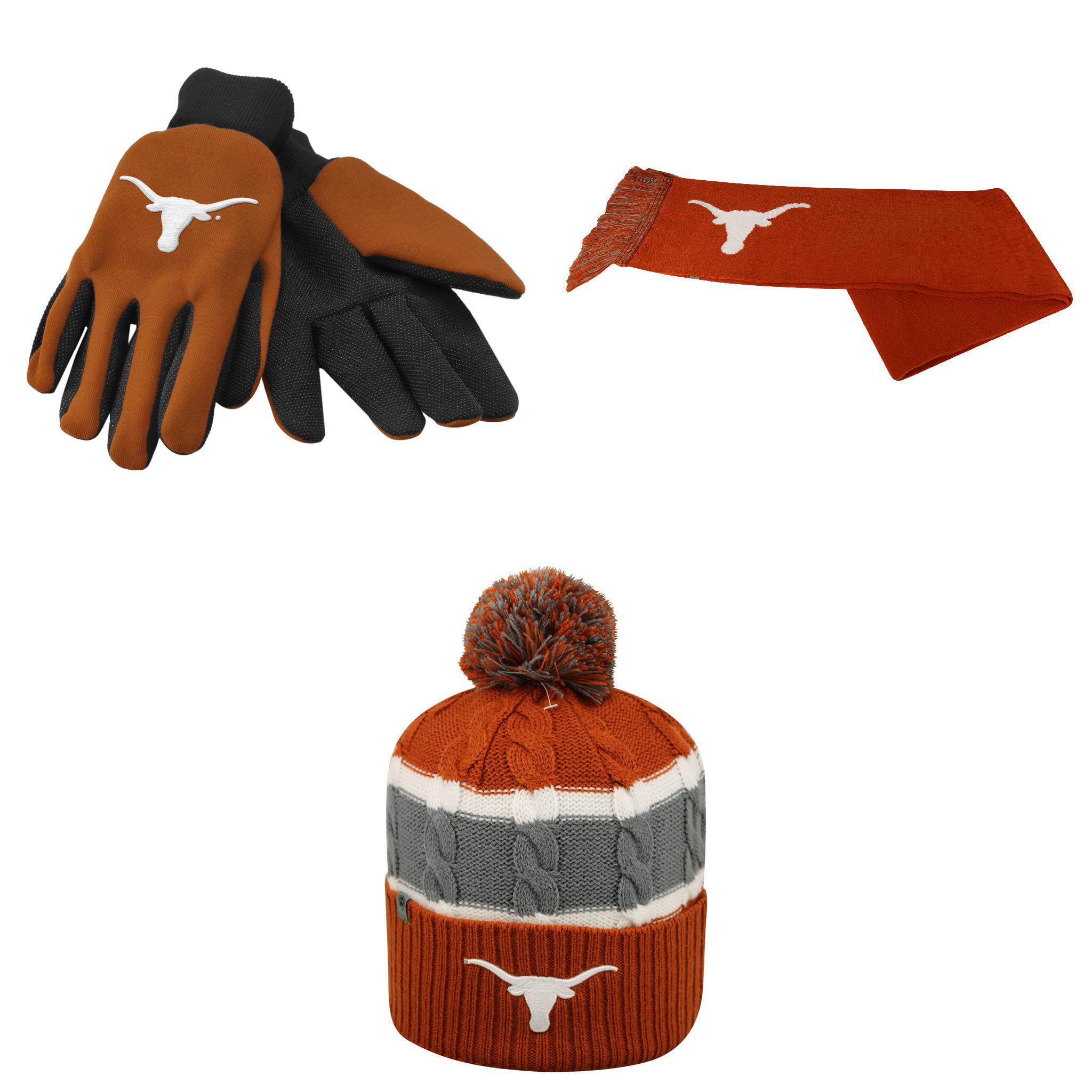 NCAA Texas Longhorns Grip Work Glove Windy Beanie Hat And Team Logo Scarf 3 Pack Bundle