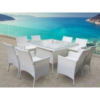 Bellini Home and Gardens Peninsula Wicker 9 Piece Patio Dining Set