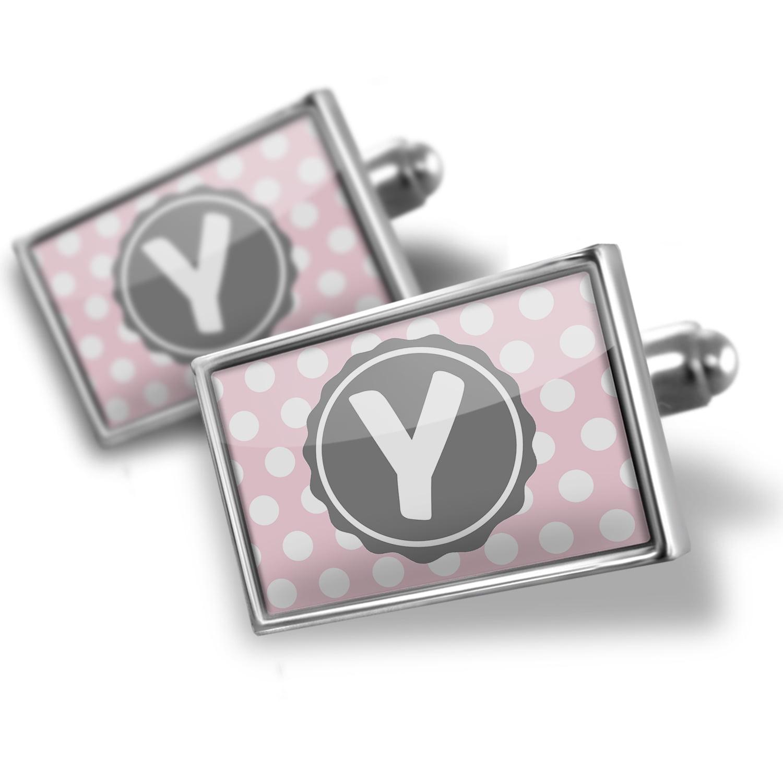Cufflinks Monogram Y soft Pink Polka Dots - NEONBLOND