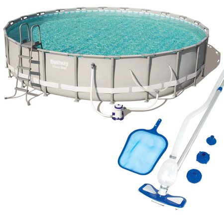 Power 22ft x 22ft x 51.6in Steel Frame Swimming Pool with Filter, Ground Cloth, Cover, Ladder, Garden Hose Drain Adaptor, Chemconnect Dispenser, Cleaning/Maintenance Kit (Best Way To Clean Cloth Shoes)