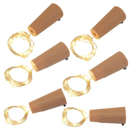 Lumabase 6-Piece Wine Cork with Battery Operated Submersible Mini String - Mini Battery Operated Lights