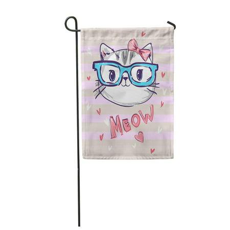 LADDKE Kitten Cute Cat Sketch Children Girl Glasses Little Garden Flag Decorative Flag House Banner 12x18