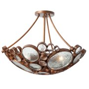 Varaluz - Fascination - 3 Light Semi Flush - Hammered Ore Finish with Clear Recycled Bottle Glass