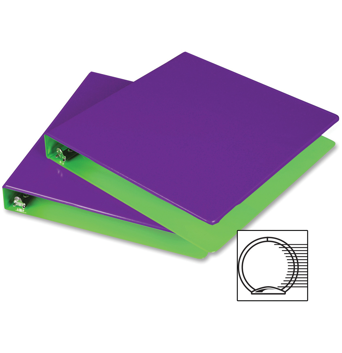 "Fashion Color Two-Tone Round Ring View Binder 1"" 2/Pkg-Purple/Lime"