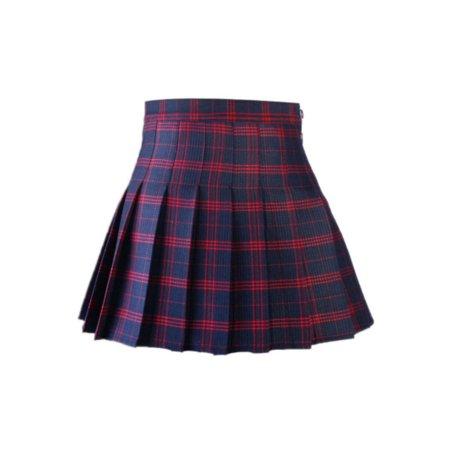 High Waist Women Girl Skirt Tennis Dress Plaid Flared With Inner Shorts Blue Tennis Skirt