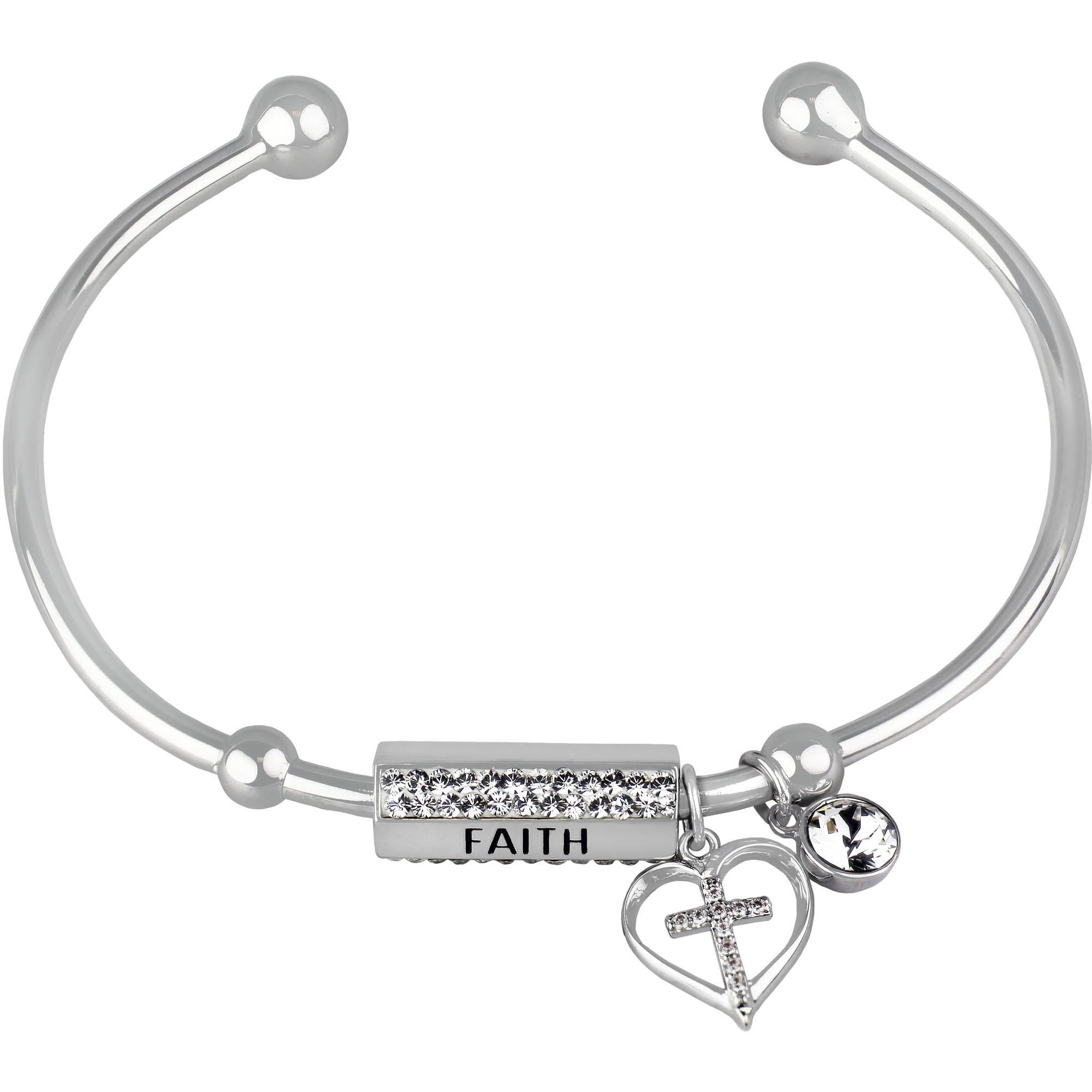 "Truly Inspired Swarovski Crystal Fine Silver-Tone Heart and Cross ""Faith"" Cuff Bracelet"