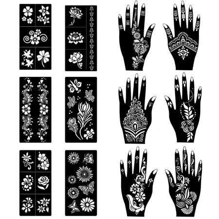COKOHAPPY Stencils for Henna Tattoos (12 Sheets) Self-Adhesive Beautiful Body Art Temporary Tattoo Templates, Henna, Flower, Butterfly Designs Flower Armband Tattoos