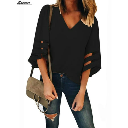 Panel V-neck Top - Spencer Women's Plus Size V Neck 3/4 Bell Sleeve Chiffon Blouse Mesh Panel Casual Loose Shirt Tops