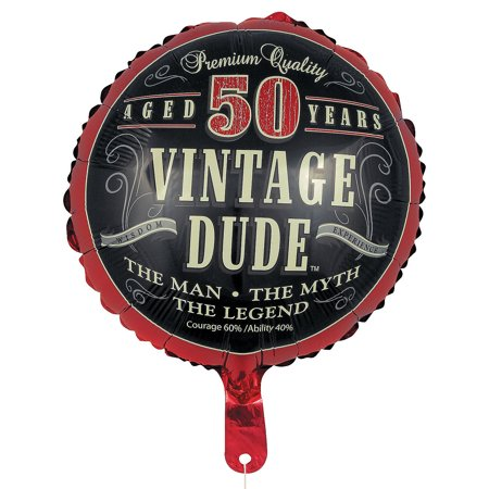 50th Vintage Dude Metallic Balloon for Birthday - Party Supplies - Licensed Tableware - Misc Licensed Tableware - Birthday - 1 Piece ()