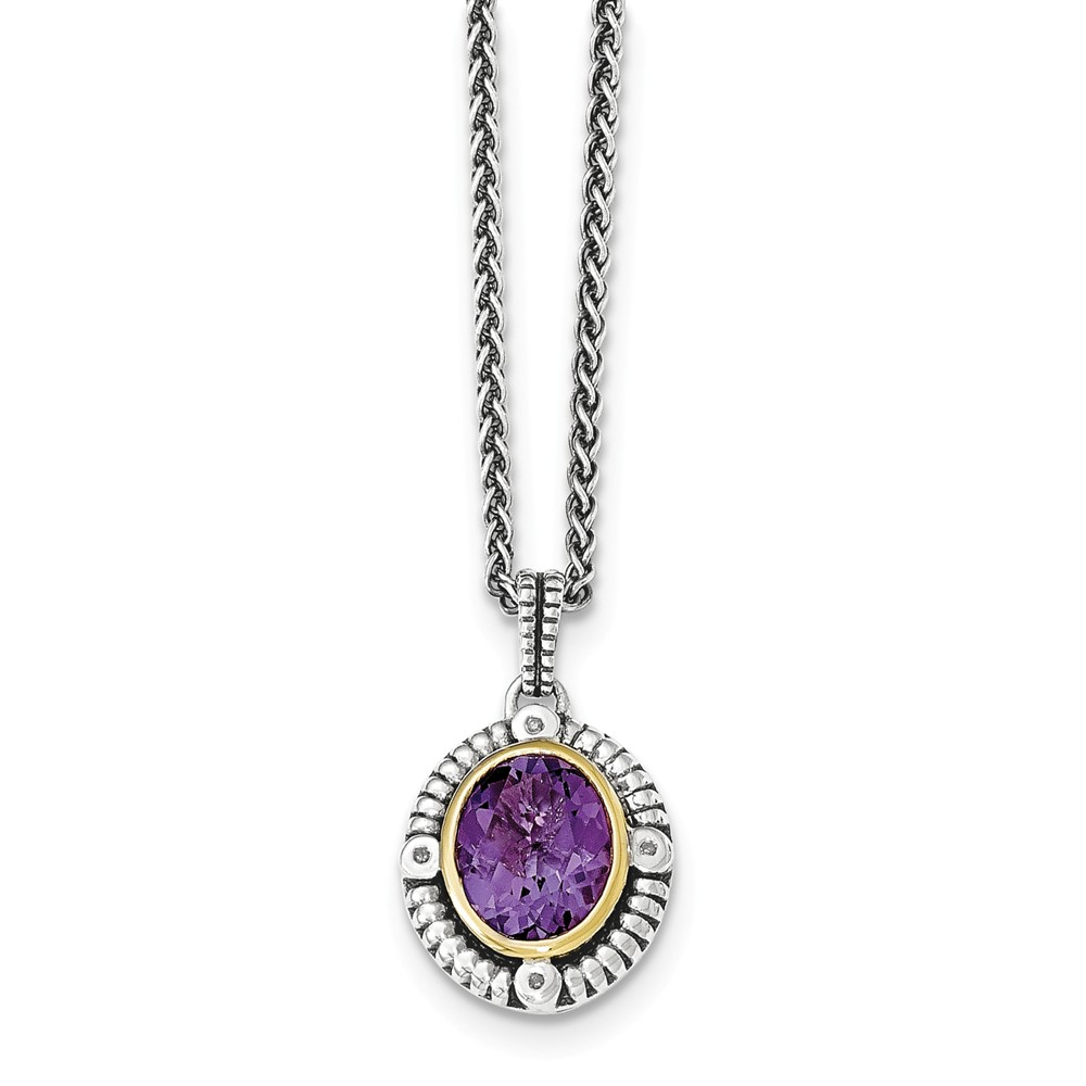 "Solid 925 Sterling Silver with 14k Simulated Amethyst & Diamond Necklace Chain 18"" with Secure Lobster Lock Clasp... by AA Jewels"