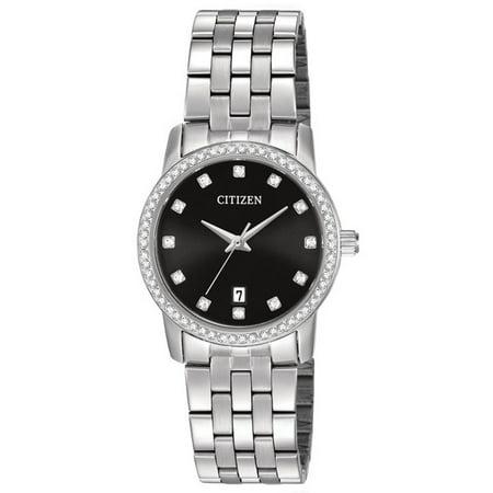 CITIZEN Women's Crystal Black Dial Quartz Watch EU6030-56E