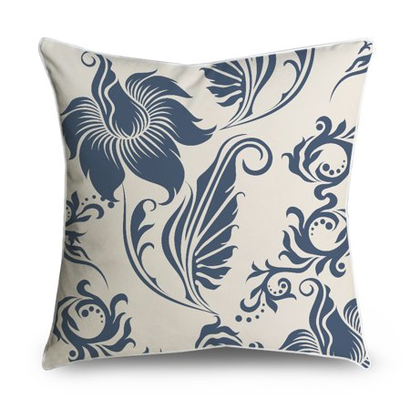 Popeven Vintage Floral Pattern Throw Pillow Case for Sofa Decor,18