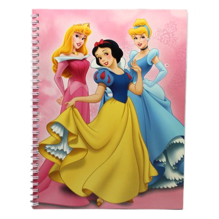 Disney Princess Aurora, Snow White and Cinderella Light Pink Spiral Notebook