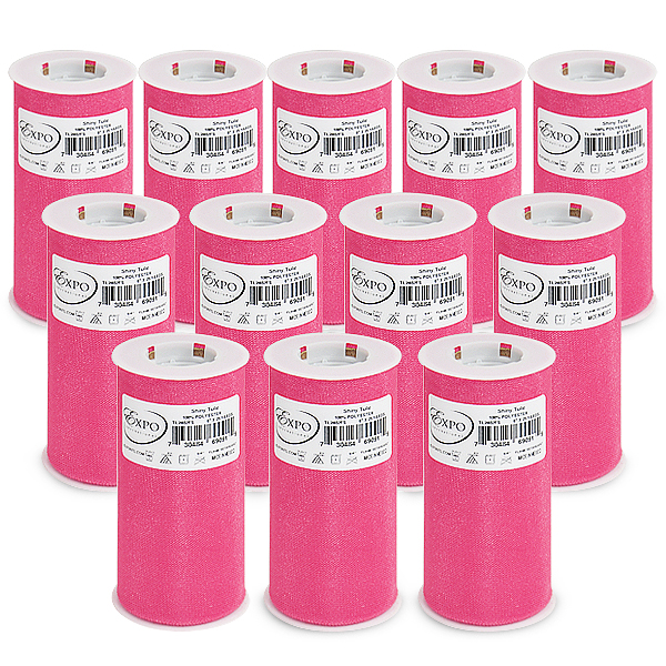 """Expo Int'l Pack of 12 Shiny 6"""" Tulle Spool of 25 Yards"""
