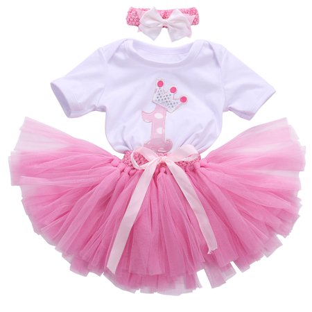 Baby Girls Birthday Outfit Cotton Bodysuit Bubble Skirt Headband 3pcs Infant Clothes - Baby Girl Birthday