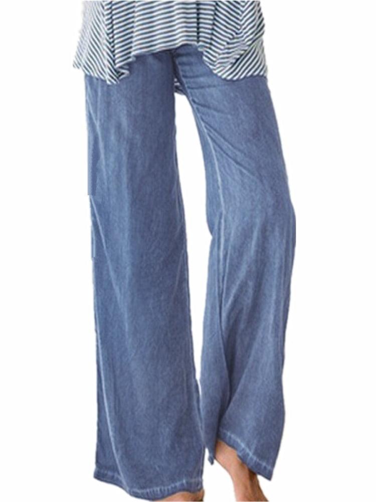 Women's Fashion Elastic Waist Faux Denim Solid Wide Leg Pants Flared Trousers