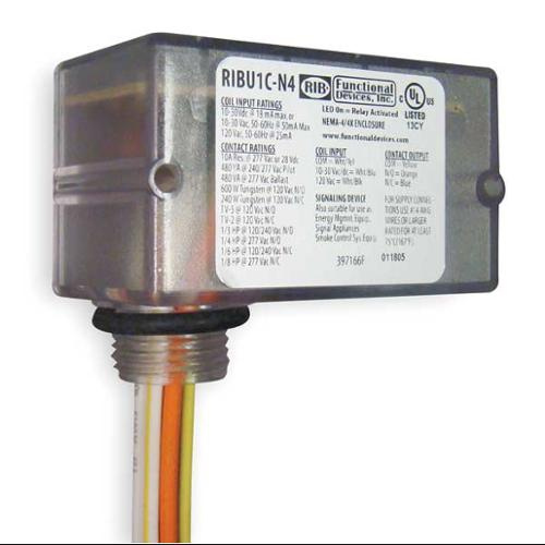 FUNCTIONAL DEVICES INC / RIB RIBU1C-N4 Enclosed Pre-Wired Relay,SPDT,10A@277VAC