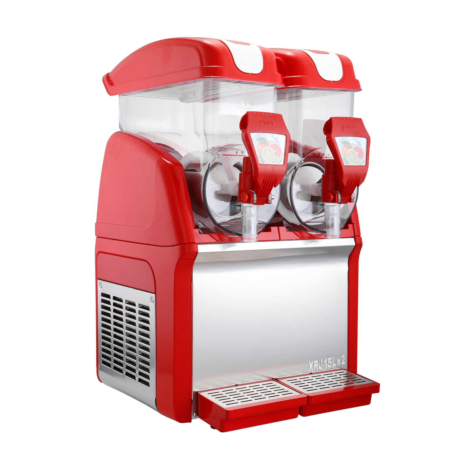 VEVOR Slush Slushy Making Machine 15L X 2 Tanks Red Frozen Drink Slush Machine Commercial Smoothie Maker with Spigot