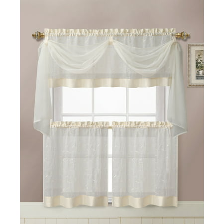 - VCNY Home Linen Leaf Embroidered Complete Kitchen Curtain Set - Beige