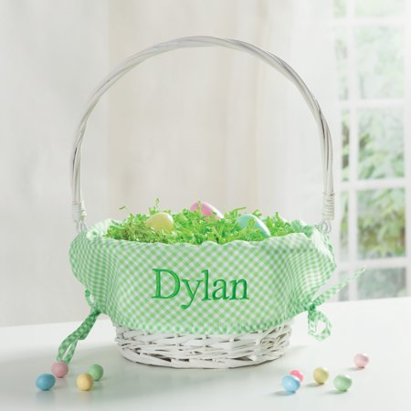 Personalized Wicker Easter Basket – Green Liner