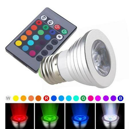 YRLED E27-Q5 Poerful High Brightness 16 Kinds Color Change LED Light Bulb with Remote Control (Plastic Coated Aluminum , 6500K, 280LM, 5W, 85-265V,Silver)