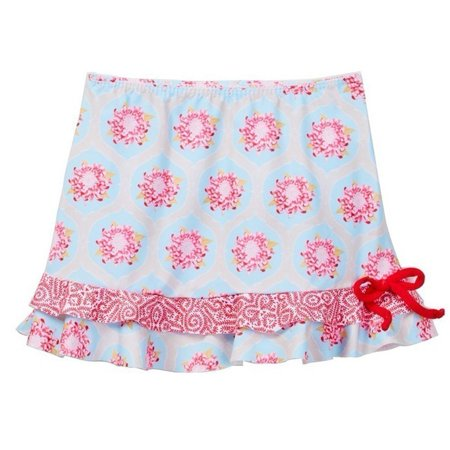 Azul Little Girls Red Blue Floral Print Tie The Girl Next Door Skirt (Door Skirt)