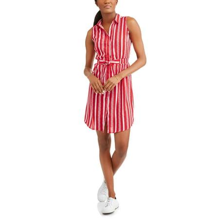 (Women's Striped Sleeveless Shirt Dress)