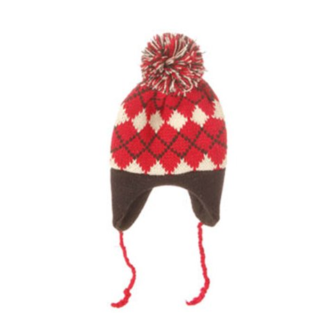 "7"" Alpine Chic Red, Black and Cream Nordic Diamond Pattern Knit Hat Christmas Ornament"