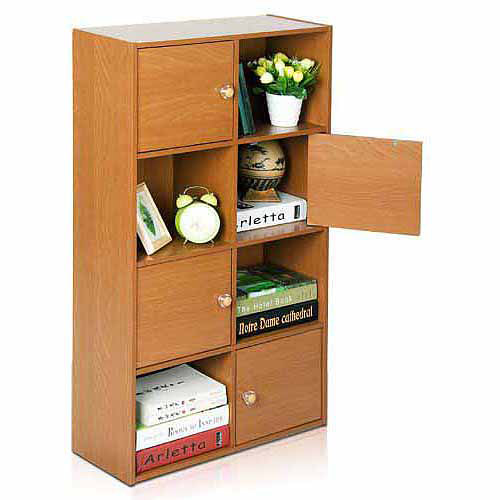 Furinno 11237 Pasir 4-Tier Shelf with 4 Doors with Round Handle
