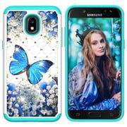 Galaxy J3 2018 Case,Galaxy J3 Star / Achieve / Galaxy Express / Amp Prime 3 / J3 V 3rd Gen/ Orbit Case, Allytech 2 in 1 Samsung Galaxy J3 2018 Defender Cover Case with Bling Diamond, Blue Butterfly
