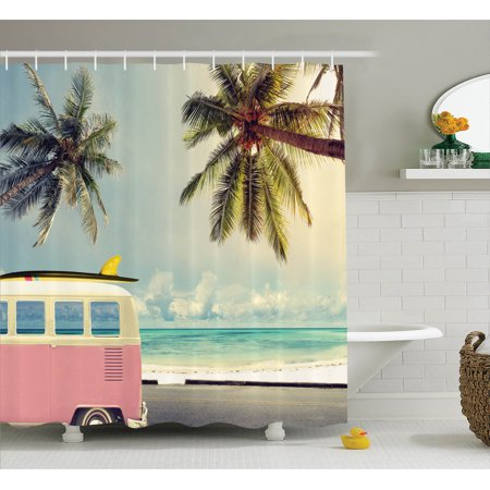 Surf Decor  Minivan On The Beach Retro Inspired Vocation Theme Clouds In Summer Sky Honeymoon Destination, Bathroom Accessories, 69W X 84L Inches Extra Long, By - Beach Themed Accessories