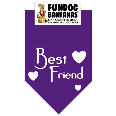Fun Dog Bandana - BEST FRIEND - One Size Fits Most for Med to Lg Dogs, purple pet (Best Mid Size Dogs For Pets)