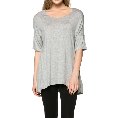 3c63efc69240 Simlu - Women's Short Sleeve Rayon Span High Low Loose Fit Tunic Top - Made  in USA - Walmart.com
