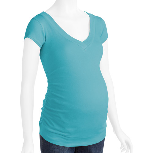 Planet Motherhood Maternity Short Sleeve V-Neck Tee with Side Ruching