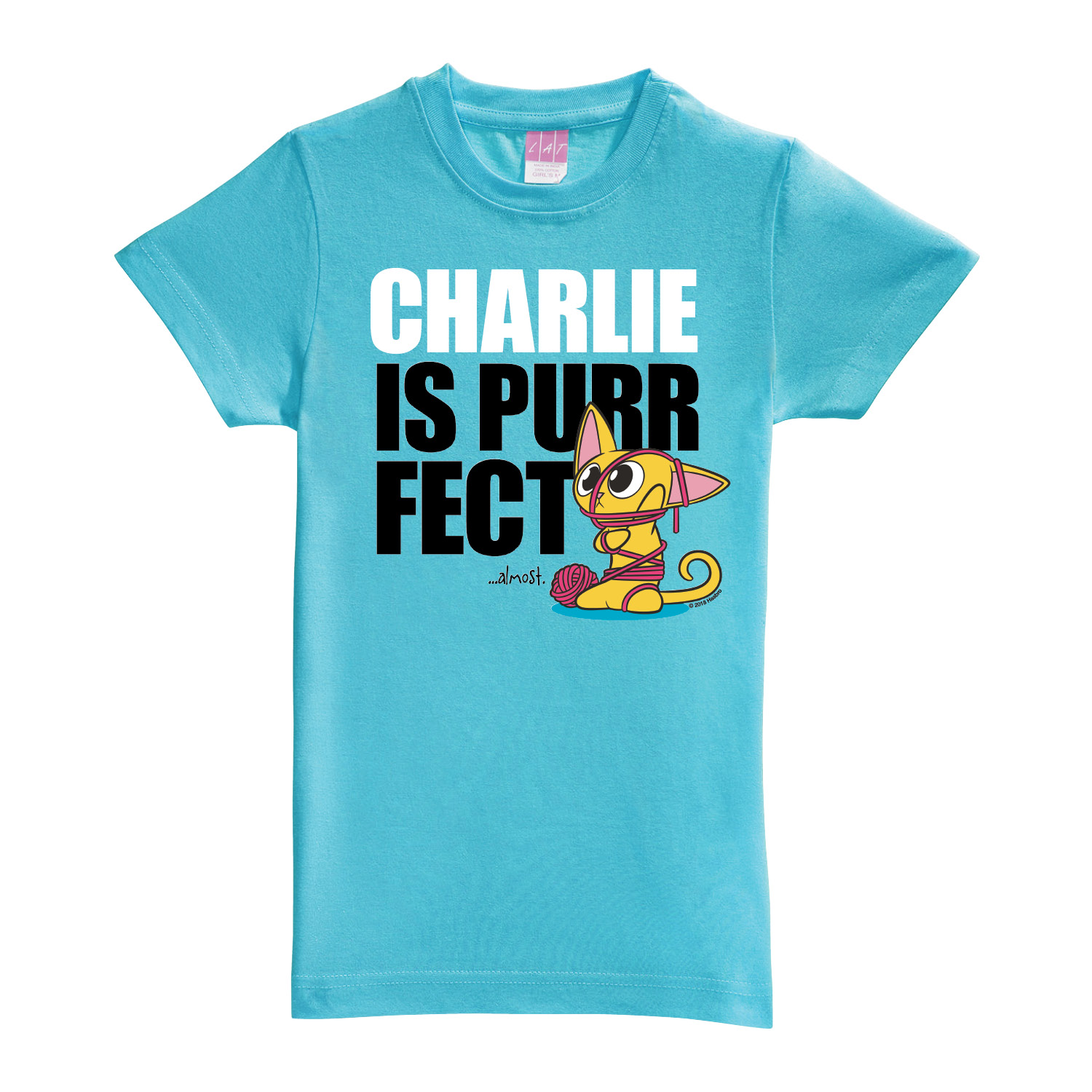 Lost Kitties Purrfect Aqua Fitted Youth Tee