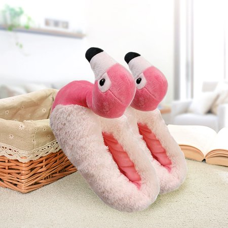 3D Flamingo Anti-slip Fluffy Slippers Warmer Slippers Fluffy Foot Warmer Plush Shoes Comfortable Women Indoor Slippers Home Use Winter Christmas Gifts - image 6 de 8