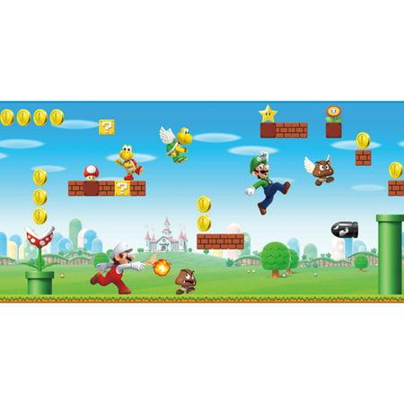 Stick Border Applique Wallpaper (RoomMates Mario Scene Peel & Stick Wallpaper Border)