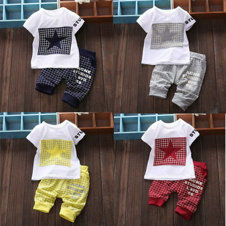 Childrens Star Outfit (Baby Boy Kid Short Sleeve STAR Sportswear Clothes T-shirt Top Short Pants)