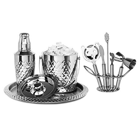 Bezrat Stainless Steel Bar Tools Set Including Ice Bucket Wine Chiller And Serving Tray Bartender S Professional Shaker Strainer Jigger Liquor