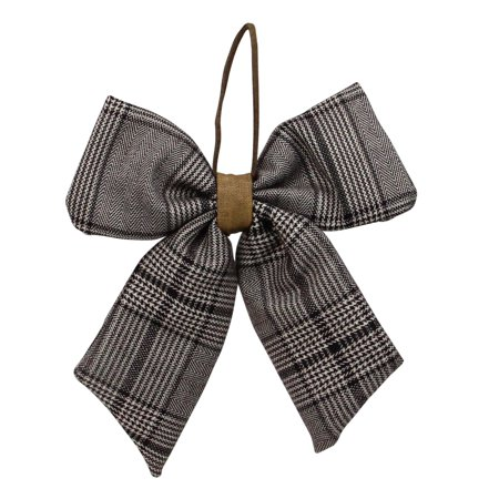 "7"" Brown Plaid 2-Loop Christmas Bow Decoration"