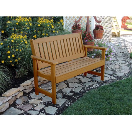 AD BENW1 TFE Recycled Plastic 500 Lbs Capacity 5ft Toffee Lehigh Outdoor Furniture Garden Bench Made In USA