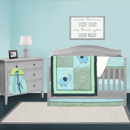 Pam Grace Creations Safari ZigZag Elephant 6 Piece Crib Bedding Set- Chevron Blue/Green (Baby Crib Bedding Sets 13 Pcs)